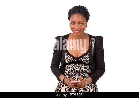 Beautiful young businesswoman in commercial outfit using a smart phone application. Portrait of studio shot on a white background - Stock Image