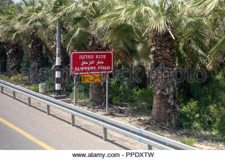 'Slippery Road' Sign in Hebrew, Arabic, and English - Stock Image