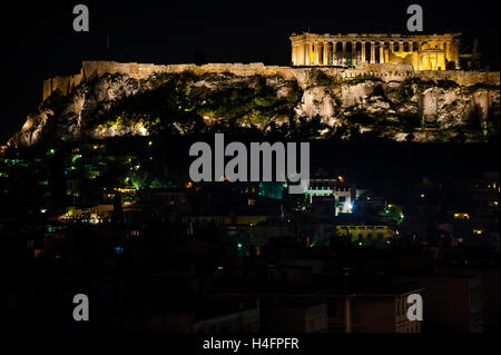 Athens, Greece. Acropolis at night. - Stock Image