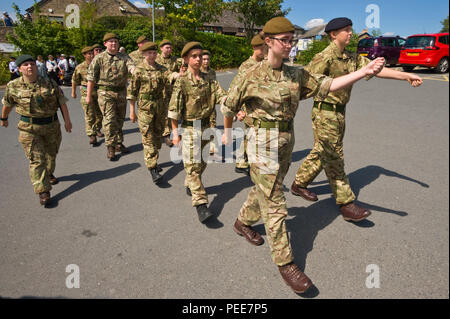 World War One commemorative event parade army cadets at Hay-on-Wye Powys Wales UK - Stock Image