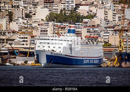 Passenger ship Carribbean Galaxy moored in a perama shipyard port of Piraeus Athens Greece Europe - Stock Image