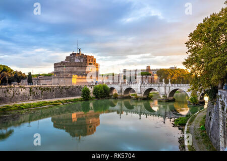 Rome, Italy. Castel Sant'Angelo and bridge over Tiber river in the morning - Stock Image