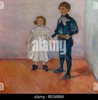 Portrait of Children, Erdmute and Hans-Herbert Esche, Edvard Munch, 1905, Zurich Kunsthaus, Zurich, Switzerland, Europe - Stock Image