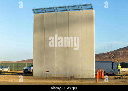 Trump administration new US-Mexico border wall prototypes are unveiled in October 2017. This prototype was designed - Stock Image