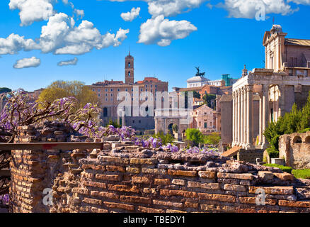 Historic Roman Forum in Rome scenic springtime view, capital of Italy - Stock Image