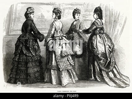 Fashionable women from early 1870.     Date: May 1870 - Stock Image
