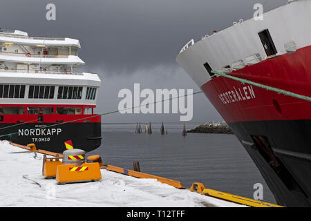 The cruise ships Vesteralen and Nordkapp belonging to the Hurtigruten Company, in port at Trondheim in Norway. - Stock Image