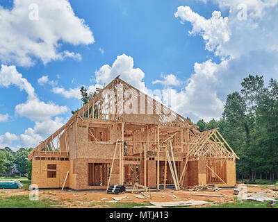 Exterior of framed residential house under construction in a subdivision in Montgomery Alabama, USA. - Stock Image