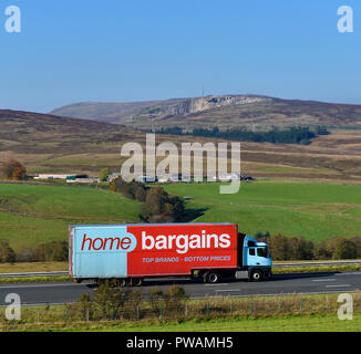 Home Bargains Top Brands Bottom Prices HGV. M6 Northbound carriageway, Shap, Cumbria, England, United Kingdom, Europe. - Stock Image