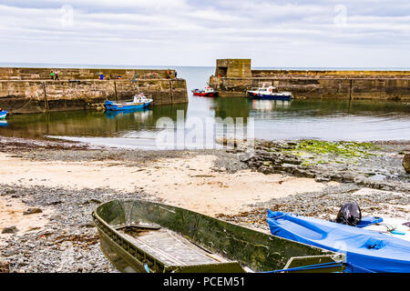 Craster Harbour at low tide, Craster, Northumberland, UK. - Stock Image
