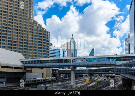 Looking back toward Union Station from the plaza around CN Tower, Toronto on a sunny day. The Intercontinental Hotel building is at left. - Stock Image