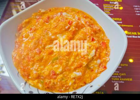 Menemen, turkish scrambled eggs, Istanbul, Turkey, Eurasia - Stock Image