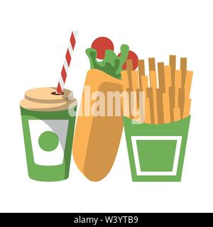 Fast food wrap and french fries with soda cup isolated - Stock Image