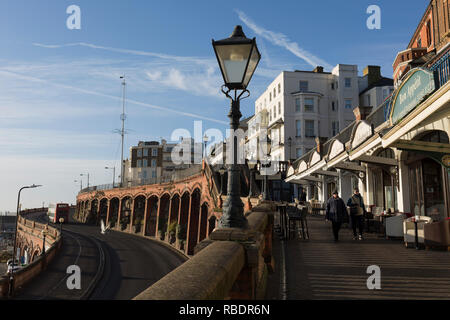 Ramsgate's Royal Parade, on 8th January 2019, in Ramsgate, Kent, England. The Port of Ramsgate has been identified as a 'Brexit Port' by the government of Prime Minister Theresa May, currently negotiating the UK's exit from the EU. Britain's Department of Transport has awarded to an unproven shipping company, Seaborne Freight, to provide run roll-on roll-off ferry services to the road haulage industry between Ostend and the Kent port - in the event of more likely No Deal Brexit. In the EU referendum of 2016, people in Kent voted strongly in favour of leaving the European Union with 59% voting  - Stock Image