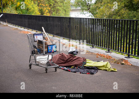 Homeless Person Sleeping on the Streets in Eugene Oregon - Stock Image