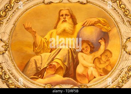 COMO, ITALY - MAY 8, 2015: The fresco of God the Creator  in church Santuario del Santissimo Crocifisso by Gersam Turri (1927-1929). - Stock Image