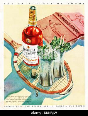 1943 U.S. Magazine Kentucky Tavern Whiskey Advert - Stock Image
