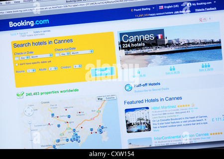 Booking.com website - online hotel search and booking - Cannes, France, French Riviera - Stock Image