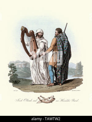 Ancient Irish Ottamh and Heraldic bard. 1815, The Costume of the Original Inhabitants of the British Islands, by MEYRICK, Samuel Rush and SMITH Charle - Stock Image