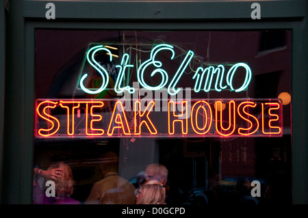USA, Indiana, Indianapolis food, shrimp and steaks at St. Elmo Steak House. - Stock Image