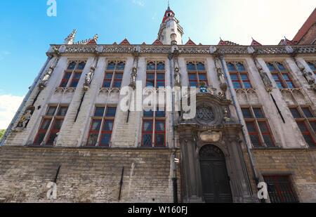 Famous place of worship -Jan van Eyckplein church in Bruges - Belgium - Stock Image