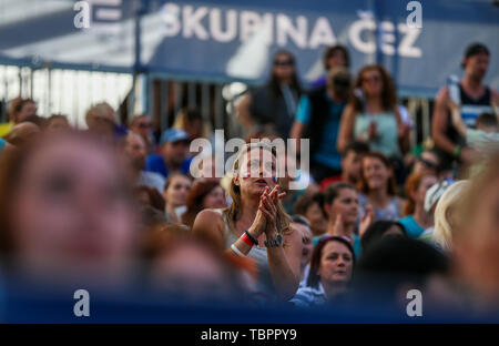 Ostrava, Czech Republic. 01st June, 2019. Fans are seen during the four-star J&T Banka Ostrava Beach Open 2019, part of the FIVB Beach Volleyball World Tour, in Ostrava, Czech Republic, on June 1, 2019. Credit: Petr Sznapka/CTK Photo/Alamy Live News - Stock Image