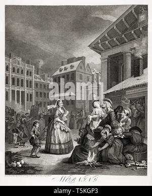 William Hogarth, Four Times of the Day: Morning, engraving, 1738 - Stock Image