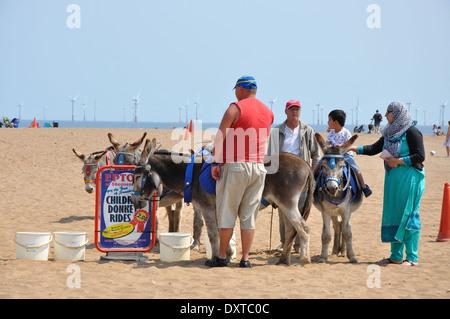 donkey rides, Skegness, Lincolnshire, England, UK - Stock Image