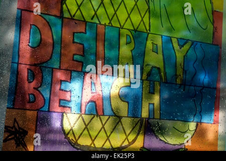Stained Glass sign in Delray Beach, Florida, US - Stock Image