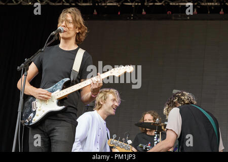 British alternative rock band VANT performing together in 2017. VANT released their debut album Dumb Blood and announced their split in the same year. VANT were Mattie Vant, Billy Morris, Henry Eastham and David Green. - Stock Image