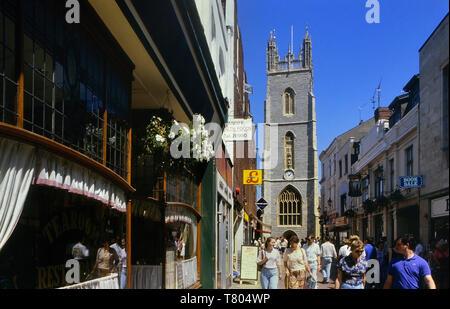St John The Baptist City Parish Church viewed from Church Street, Cardiff, Wales. Cymru. Circa 1980's - Stock Image