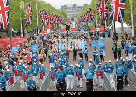 London, UK, 28 April 2019 Runners at finishing line of  Virgin London Marathon Credit: JOHNNY ARMSTEAD/Alamy Live News - Stock Image