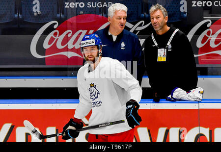 Bratislava, Slovakia. 17th May, 2019. L-R Czech player Hynek Zohorna, Head Coach Milos Riha and General Manager of the Czech national team Petr Nedved attend a training session of the Czech national team within the 2019 IIHF World Championship in Bratislava, Slovakia, on May 17, 2019, prior to the match against Italy. Credit: Vit Simanek/CTK Photo/Alamy Live News - Stock Image