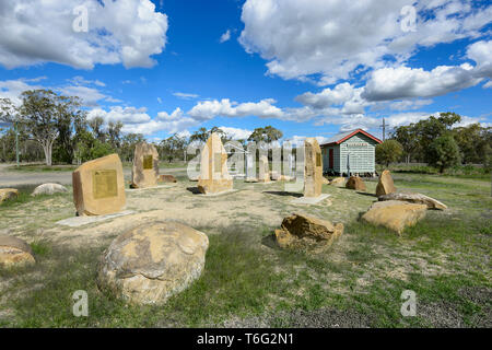 Gunnewin soldier settlement momorial and old railway station, South West Queensland, QLD, Australia - Stock Image