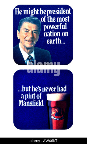 1980s Beer Mat Mansfield Bitter Beer featuring Ronald Reagan US President FOR EDITORIAL USE ONLY - Stock Image