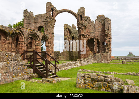 Ruins of Lindisfarne Priory Holy Island - Stock Image