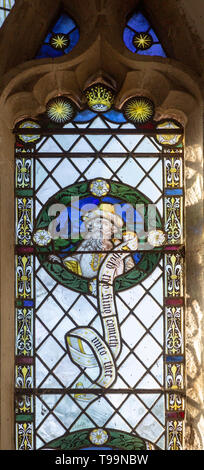 Stained glass window of Prophet Micah in church of Saint Margaret, South Elmham, Suffolk, England, UK c 1917 - Stock Image