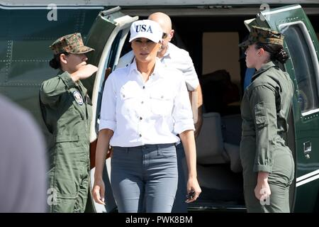 Panama City, Florida, USA. 15th Oct 2018. U.S First Lady Melania Trump disembarks Marine One for a tour of damage in the aftermath of Hurricane Michael at Northwest Beaches International Airport October 15, 2018 in Panama City, Florida. Credit: Planetpix/Alamy Live News - Stock Image