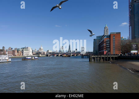 River Thames towards St Pauls with The Cheese Grater and Walkie-Talkie to the right - Stock Image