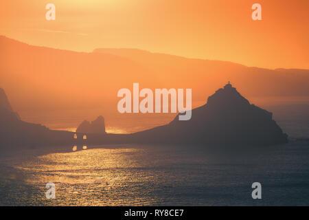 Gaztelugatxe in Basque Country at the sunset - Stock Image
