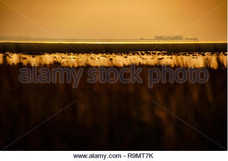 UK Weather, Southport, Merseyside, England, UK. 26th Dec, 2018. A largely grey murky Boxing day afternoon at RSPB Marshside Nature Reserve, with occasional flashes of sunlight, as the afternoon light starts to fade over Southport Pier, view from across the Marshes, Southport, Merseyside, Lancashire, England UK Credit: Christopher Canty Photography/Alamy Live News - Stock Image