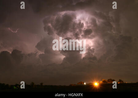 Lightning in thunder storm Colorado - Stock Image