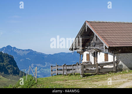 By Ascent To The Popular Spitzsteinhaus You Pass The Idyllic Nesselbrandalm - Stock Image