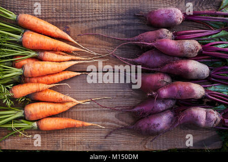 Bunch of fresh organic beetroots and carrots on wooden rustic table. Carrot is located opposite to beet on wood - Stock Image