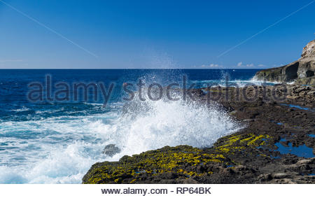 Waves crashing onto the rugged rocky coast of Koko Head, Koko Head District Park, Hawaii Kai, Oahu, Hawaii, USA - Stock Image