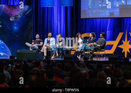 Bonn, Germany - June 8 2019: Wes Chatham, Cas Anvar, Dominique Tipper, Shohreh Aghdashloo, Frankie Adams and Steven Strait at FedCon 28 - Stock Image