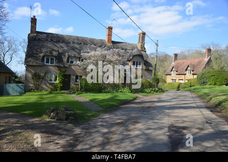 House in the Warwickshire village of Wormleighton captured in spring sunshine - Stock Image