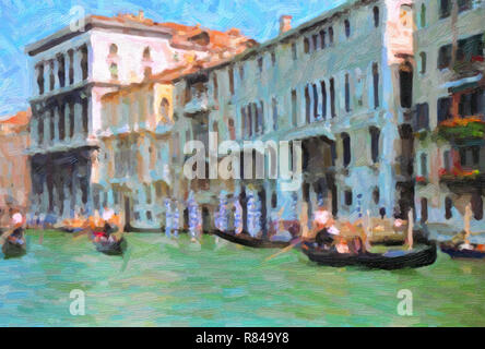 Digital oil painting effect gondolas on the canal with Palaces behind, Venice, Italy - Stock Image