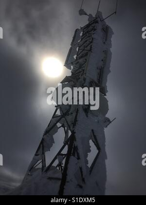 Deep frozen, tele-communication mast on mount Berakupen in Hardangervidda National Park, Norway, during a cold winterday. - Stock Image