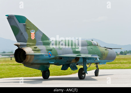 Croatian Air Force MiG-21 BISD fighter taxi, Pleso AFB during 'open day' visit in 2007 - Stock Image
